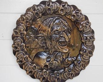 SKULLS & BONES ~ Halloween Wall Decor ~ door wreath wood carving ~  Made to Order