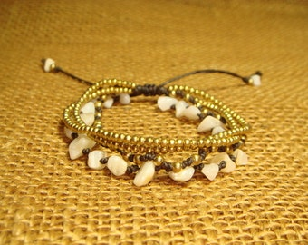 Four Strands Waxed Cord Bracelet With Seashell Mixed Brass Beads / Adjustable Bracelet