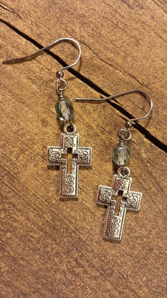 cross earrings metal cross earrings silver by