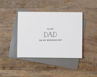 Wedding Card To My Dad On My Wedding Day, To My Father Wedding Card, To My Dad, Wedding Stationery, Thank You Wedding Card, Wedding Note, K5