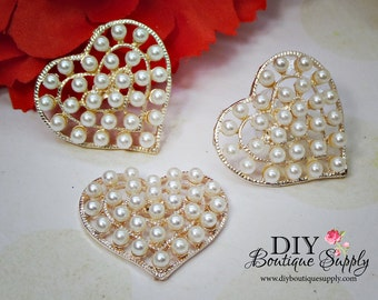 3pc Large heart Pearl buttons Flatback Rose Gold button Metal Embellishment Scrapbooking flower centers Bow Centers 28mm N128-P