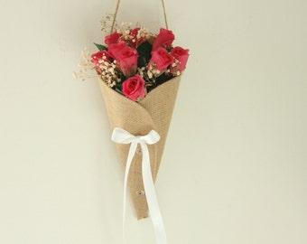 Church pew cone decoration - burlap / hessian aisle decoration cone for flowers in church. Rustic theme