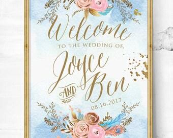 wedding signs - wedding welcome sign - wedding sign - Vintage wedding - Boho wedding sign - gold wedding decor -  blue wedding decor