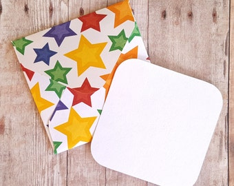 Stars Mini Envelopes, Blank Cards, Teacher Cards, Small Stationery, Teacher Gift, Enclosure Cards, Patterned Envelopes, Set of 10