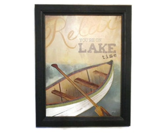 Lake House Decor, Relax... you are on Lake Time, Picture Sign Art Print, Wall Hanging, Handmade, 19X15, Custom Wood Frame, Made in the USA
