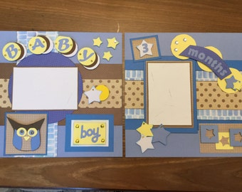 "Two 12"" x 12"" pre-made scrapbook pages for your baby boy's 3 month pictures"