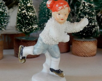 "Vintage German Snow Baby Figure ~ Ice Skating ~ Bisque Snowbaby Made in Germany ~ 2 3/8"" Tall"