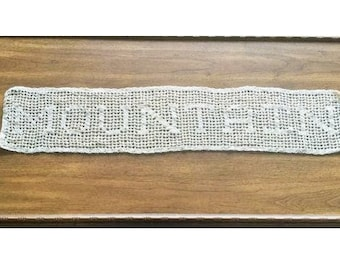 MADE TO ORDER Filet Crochet Last Name Doily, Homemade, handmade, wedding gift, coffee table, personalized, bridal family, teacher gift