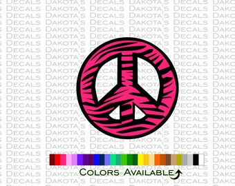 Zebra Peace Sign Decal