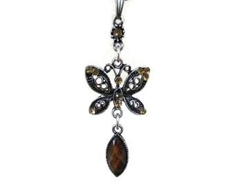 SALE! Amber Rhinestone Butterfly Choker Necklace, Butterfly Necklace, Amber Butterfly, Rhinestone Necklace, Butterflies, Girls Gift