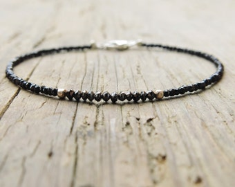 Black spinel and diamonds bracelet. Minimalist black diamond and spinel bracelet.