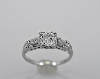Antique Engagement Ring .94ct. Diamond & Platinum Art Deco - J34054