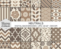 Neutral Digital Paper, Brown Backgrounds, Cream Patterns, Tan Floral, Taupe Damask, Beige Stripe, Chevron, Scallop, Graphic Design Printable