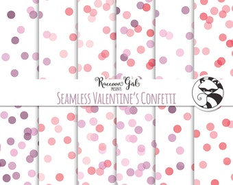 Seamless Valentines Confetti Digital Paper Set - Personal & Commercial Use