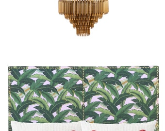 """Los Angeles pickup or drop off only * Banana Leaf """"Santa Monica"""" Upholstered Headboard with Gold (brass) Nailhead Trim! All Sizes Available."""