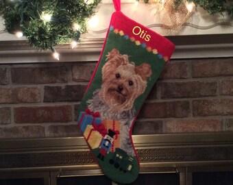 Yorkie Dog Stocking-Personalized, Christmas stocking, Yorkie stocking, Personalized Christmas stockings, Dog stocking, Yorkshire terrier