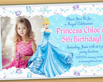 SALE, Cinderella Birthday Invitation, Disney Princess birthday Invitation, Cinderella Invitation, princess Cinderella Invitation- Digital