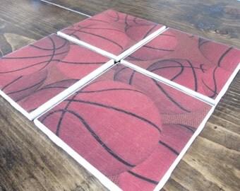 Set of 4 Basketball Tile Coasters
