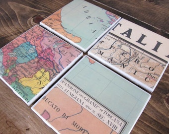 Set of 4 Vintage Italy Map Tile Coasters