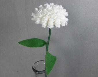 White Carnation Stem - Artificial Flower - Fake Flower - Felt Flower - Felt Carnation - Fake Carnation - Artificial Carnation