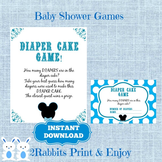 items similar to mickey mouse baby shower diaper cake game cards and