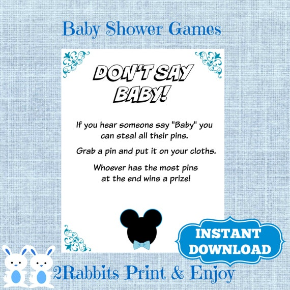 mickey mouse don 39 t say baby baby shower printable sign game disney