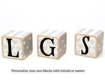 Wooden Blocks - Name Blocks - Grey Nursery Room Decor - Baby Shower Decor - Personalized Blocks - 2 Inch