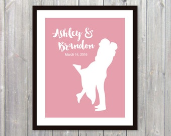 Custom Wedding Gift Print - Couple Silhouette Print - Pink - Personalized Engagement Print - Bridal Shower Print - Engagement Gift