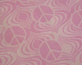 Quilt Store Quality Pink Peace Sign Cotton Fabric