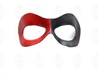 Red & Black Harley Quinn Leather Mask Costume Cosplay Villain Gotham Girls