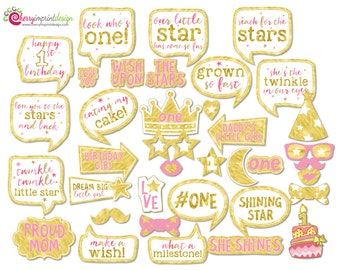 37 Twinkle Twinkle Little Star First Birthday Photo Booth Props Gold and Pink - INSTANT DOWNLOAD - DIY Printable (Jpeg)