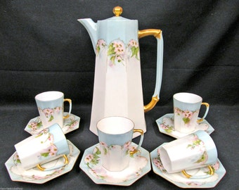 Limoges France teapot painted FLORAL BLOSSOMS chocolate teapot and 5 tea cup and saucer demis