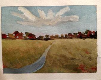 Autumn Field 5x7 Original-on  6x8 paper