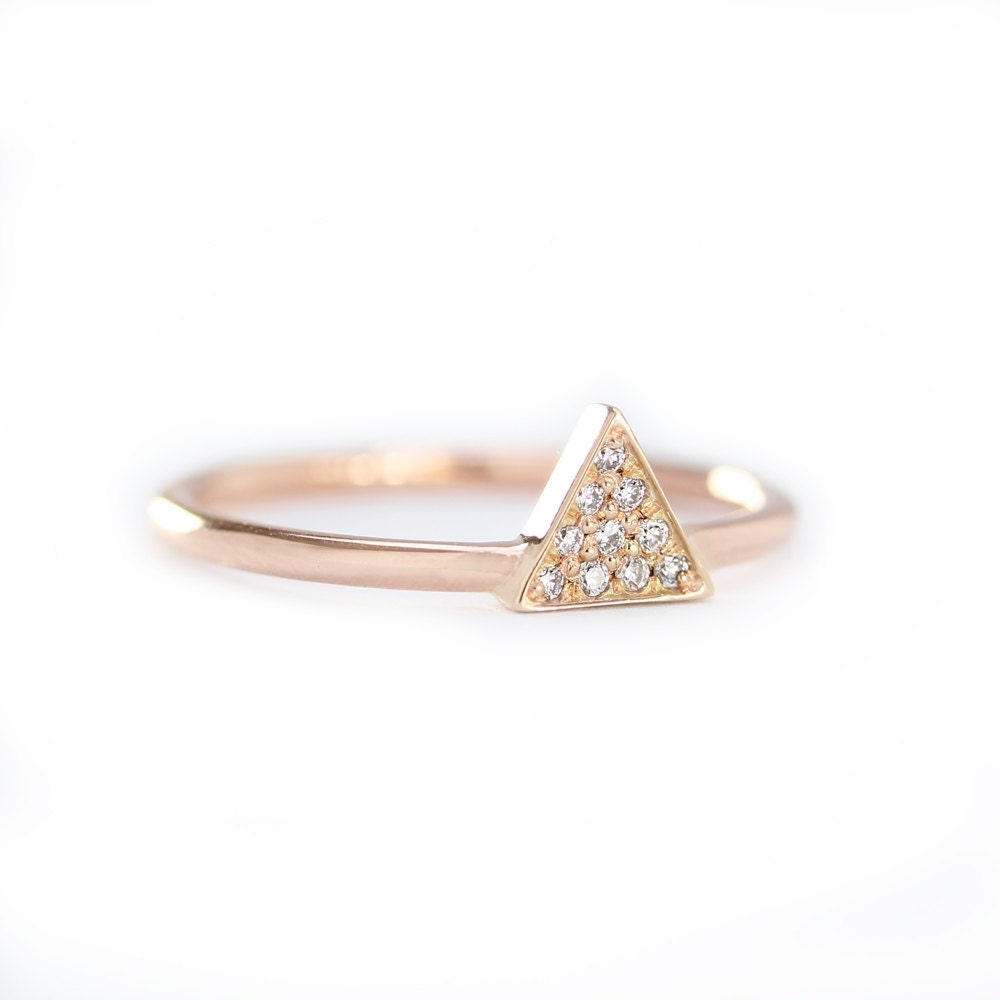 Triangle Shaped With Micro Pave Setting Engagement by KHIMJEWELRY