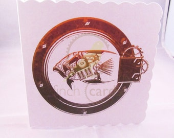 Steampunk Fish Blank Card, Fish Card, Steampunk Card, UK