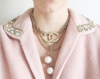 CHANEL Vintage CC Logo Rhinestone Necklace