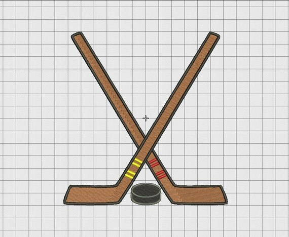 Hockey Crossed Sticks Basic Full Stitch Embroidery Design ...