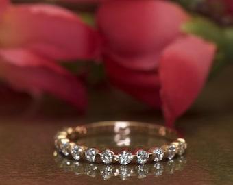 Rose Gold Diamond Wedding Band, Single Shared Prong Setting with Closed Baskets, 0.42tcw,3/5Eternity Style, Free Shipping, Brooke M