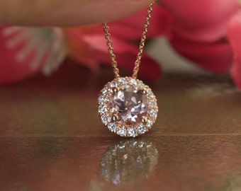 """Kira - Morganite Pendant in Rose Gold, Round Brilliant Cut, Halo Design, with matching 16"""" Chain, Anniversary/Push Gift, Free Shipping"""