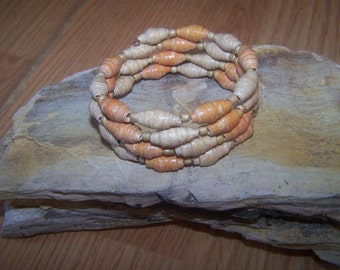Salmon and Beige wrapped paperbead bracelet