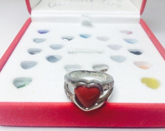 Vintage Heart Ring set, silver colored ring with 19 interchangeable heart shaped stones