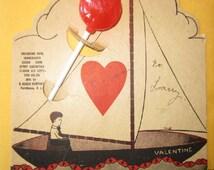 Vintage Antique VALENTINES DAY LOLLIPOP Card E Rosen Company