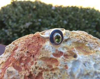 Sterling Silver Contemporary Peridot Ring