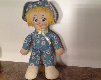 Vintage Blue Floral Print Rag Doll