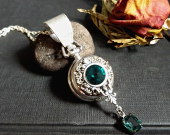 Pocket watch/watch necklace/Swarovski Pendant