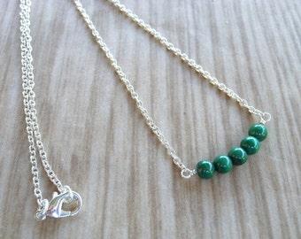Malachite Beaded Bar Necklace, Malachite Necklace, Gemstone Necklace, Beaded Bar Necklace