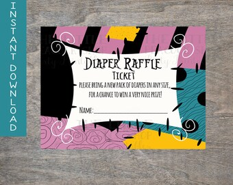 Sally diaper raffle tickets Halloween Nightmare before Christmas Dress inspired Baby Shower Printable DIY Baby Sprinkle  | Instant Download