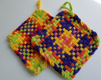 Cotton Pot Holders, Woven Potholders, Set of Potholders, Kitchen, Retro, Vintage, Hostess Gifts, Purple, Green, Yellow, Potholder