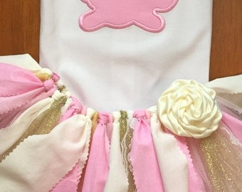 Pink, Ivory, and Gold Easter Bunny Tutu Outfit