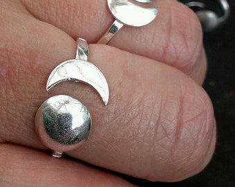 Sun and Moon Ring in Sterling Silver. Adjustable Planet Ring. Moon Phase Celestial Gypsy Boho. Moon Child.
